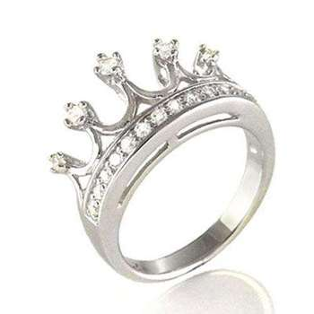 Cara sterling silver and  certified Swarovski stone Crown Silver Ring