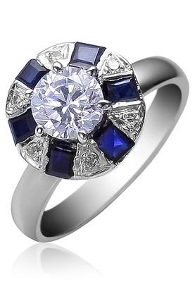 Cara sterling silver Blue and Swarovski Stone Ring