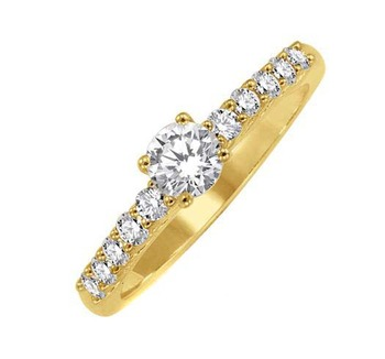 Cara Golden sterling silver and  certified Swarovski stone stud ring for Women