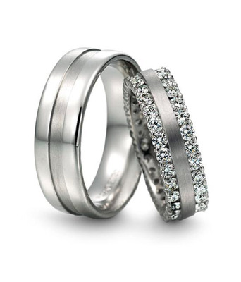 Cara sterling silver and  certified Swarovski stone You and Me Couple Bands