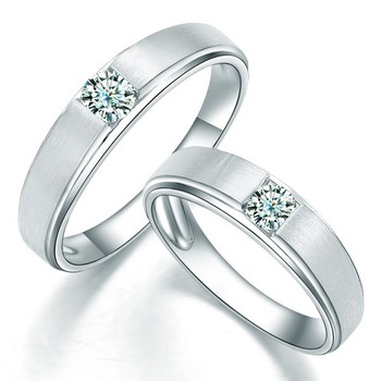Cara sterling silver and  certified Swarovski stone Silver and Sqaure Swarovksi Stud Simple and Classy couple Bands