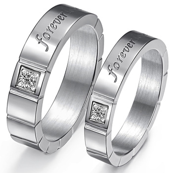 Cara sterling silver and  certified Swarovski stone Square studs forever Couple Bands