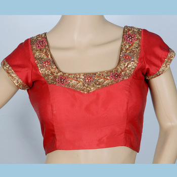 deep red Bengal silk with hand work