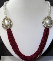 Buy Maroon Pearl Two Side Brooch Jhumka necklace set necklace-set online