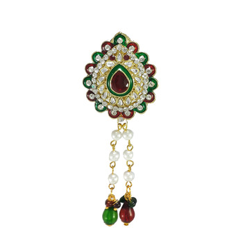 Artificial Kundan With Meenakari work Brooch