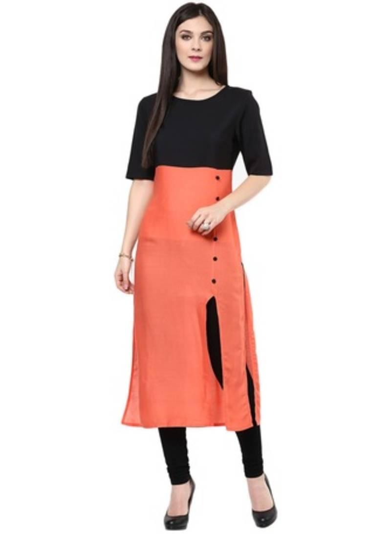 Buy Designer Casual Wear Cotton Orange Kurti Online