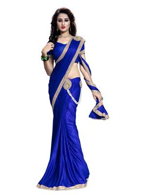 Blue plain faux lycra saree With Blouse
