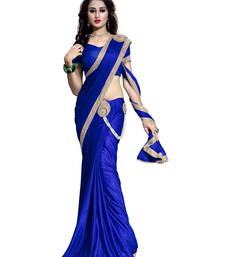 Buy Blue plain faux lycra saree With Blouse pre-stitched-saree online