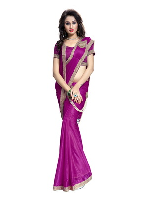 Pink plain faux lycra saree With Blouse