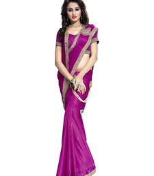 Buy Pink plain faux lycra saree With Blouse pre-stitched-saree online