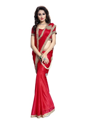 Red plain faux lycra saree With Blouse