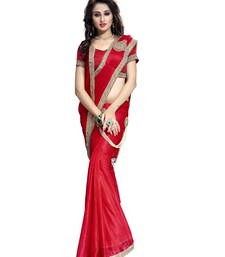 Buy Red plain faux lycra saree With Blouse party-wear-saree online