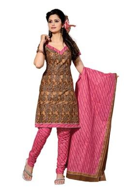 CottonBazaar Coffee & Light Pink Colored Pure Cotton Dress Material