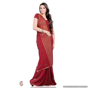 Pretty Red georgette saree