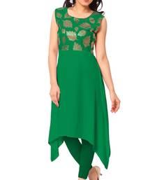 Buy Green plain faux crepe stitched kurti diwali-kurti online