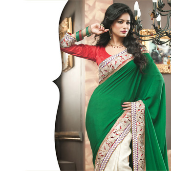 Green and OffWhite Designer Saree with Prints