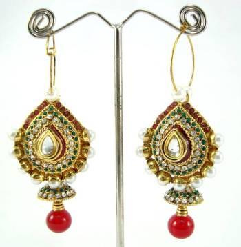Indian designer ruby emerald cz pearl gold tone jhumki earring a5