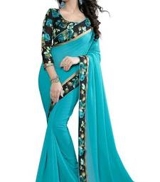 Buy light_blue plain georgette saree With Blouse ganpati-saree online