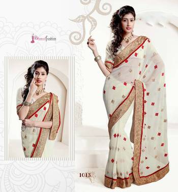BOLLYWOOD DESIGNER CHIFFON CREAM  SAREE WITH CHIFFON BLOUSE- BFD1013EN