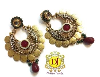 Kundan n Ad studded big coin earrings