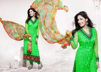 Hypnotex Green Pure Chiffon Anarkali Salwar Kameez