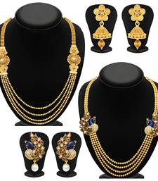 Buy Pretty 4 String Gold Plated Set of two Necklace Set Combo For Women jewellery-combo online
