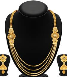 Buy Stylish Jalebi 4 String Gold Plated Necklace Set For Women necklace-set online