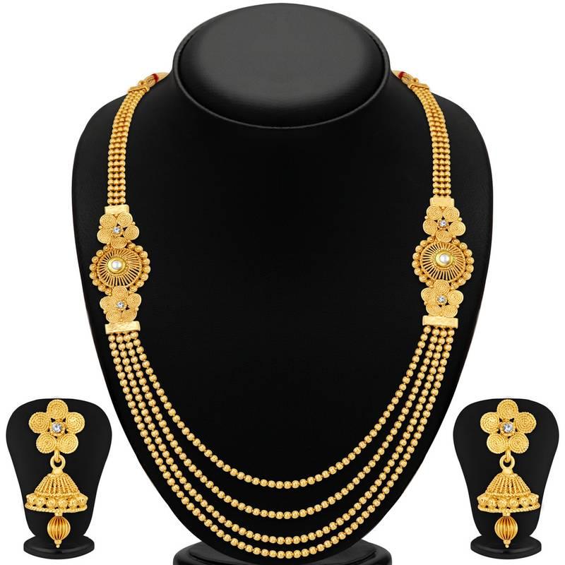 Buy Stylish Jalebi 4 String Gold Plated Necklace Set For ...
