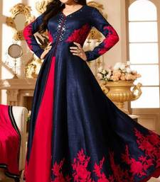 Buy Blue and red art silk hand woven indian anarkali party wear gown party-wear-gown online