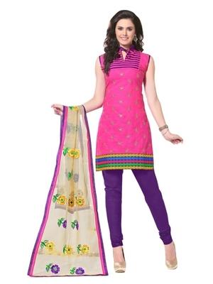 Triveni Trendy Floral Embroidered Cotton Salwar Kameez TSRCPKSK05