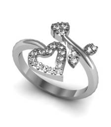 Buy Love Heart Shape Valentine  Silver Plated RING Ring online