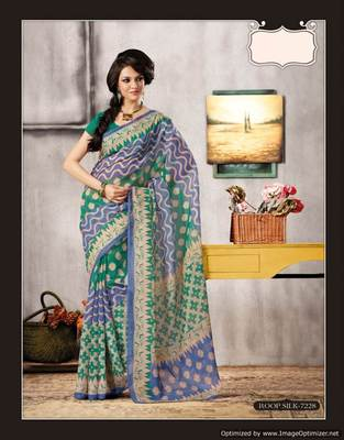 Blue Green Bhagalpuri Cotton Silk Saree SC7228