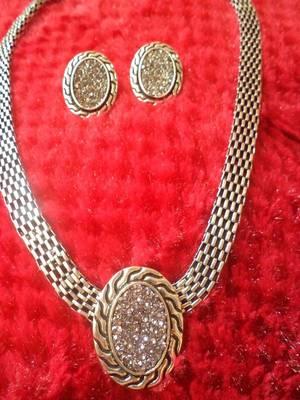Silver Finish Necklace Set-110166