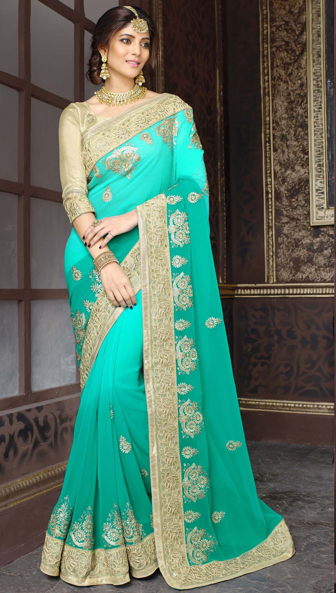 Buy georgette saree by kmozi (Turquoise) Online