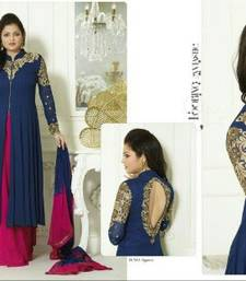 Buy Blue and pink Georgette designer palazzo semi-stitched-salwar-suit online