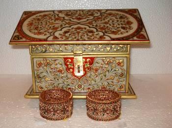 White Work Jewellery Box (Close View)