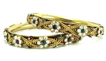 Maroon green cz antique gold plated bangle l904