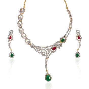 Heena contemporary multicolour round necklace set >> HJNL13GR <<