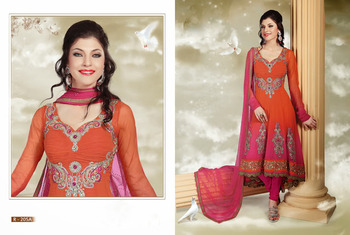 Orange And Pink Shaded Floral Embroidered Anarkali Suits