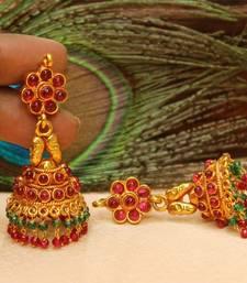 Buy Beautiful High Gold Multi colour  Geru Polish  Jhumkas south-indian-jewellery online