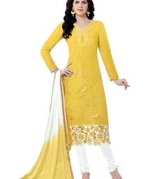Buy Yellow cotton embroidered semi stitched salwar with dupatta straight-suit online