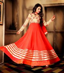 Buy ORANGE & CREAM EMBROIDERED CHIFFON SEMI-STITCHED STRAIGHT SUIT anarkali-salwar-kameez online