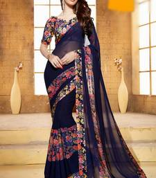 Buy dark royal blue plain georgette saree With Blouse party-wear-saree online
