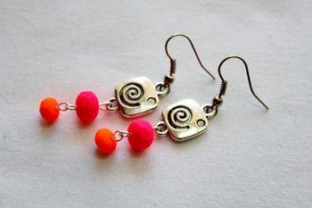 Orange and pink Earrings