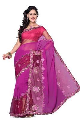 ISHIN Tissue Net Pink Saree ISHI-107