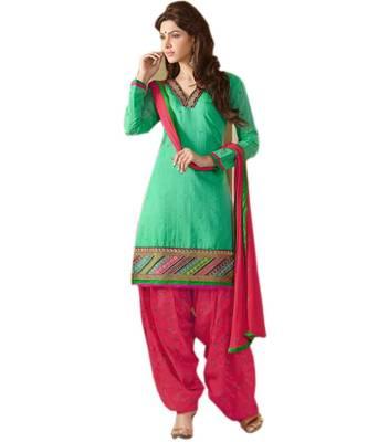 Green and Pink Chanderi Cotton patiyala patiala salwar kameez unstitched designer suit party wear indian