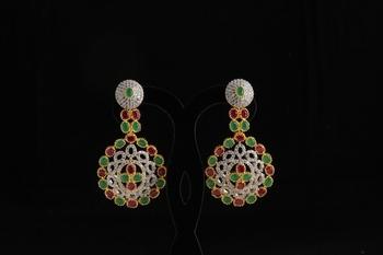 american diamond with semiprecious stylish earring