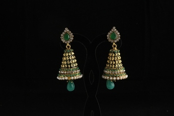 Designer ethnic polki,pearl and semiprecious studded jhumka