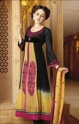 Black/yellow Salwar Kameez Churidar Dress Material SCA7190A