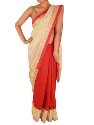 Red and Creme Jute saree with Lace border